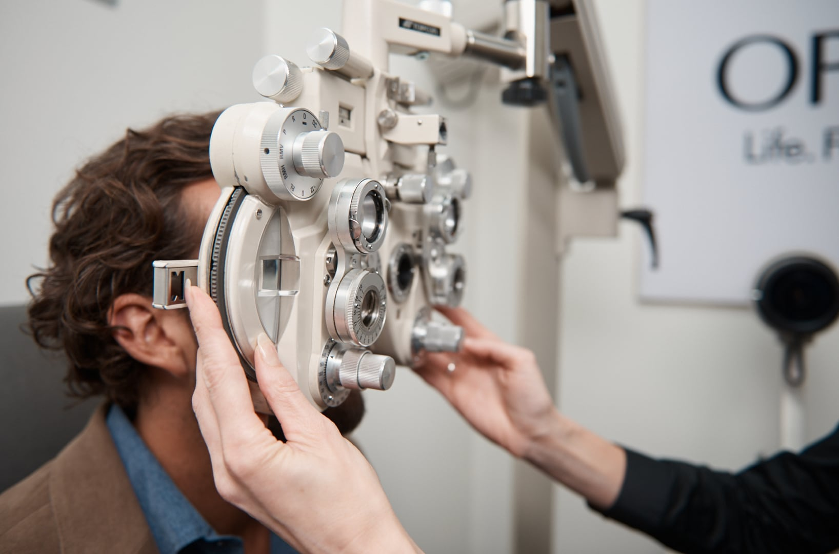 A patient during an eye examination