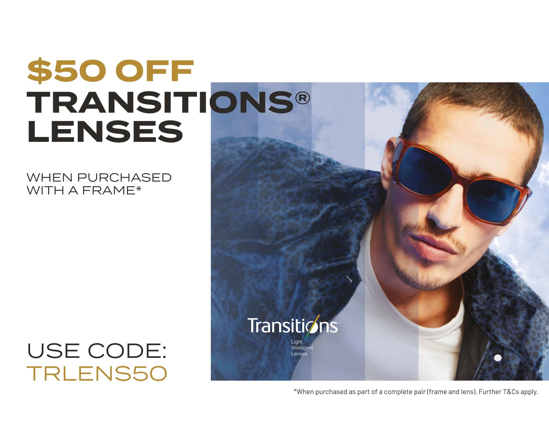 $50 Off Transitions Lenses Offer Banner